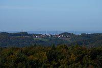 Behind Grossviehberg appears the scenery of Nuremberg, Franconia, Bavaria