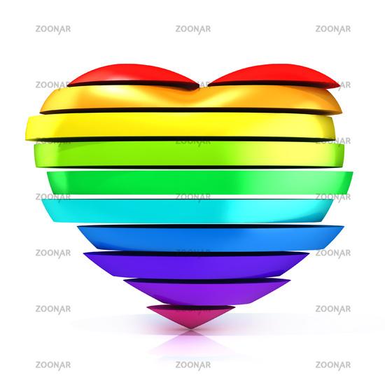 Colorful, rainbow heart. 3D
