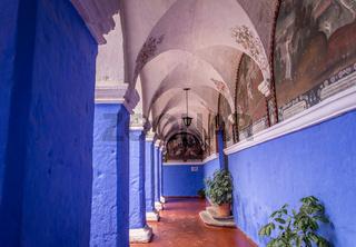 Azure Cloister in Santa Catalina Monastery in Arequipa, Peru