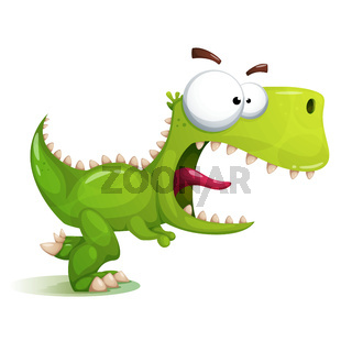 Funny, cute, crazy dinosaur illustration.
