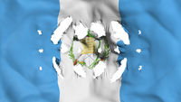 Guatemala flag with a small holes