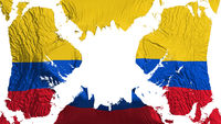 Colombia torn flag fluttering in the wind