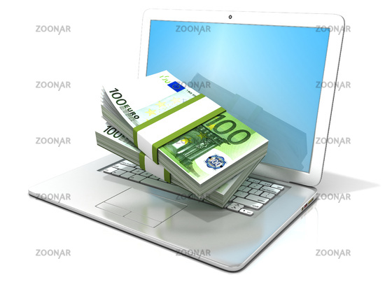 Laptop with stacks of hundreds euros . 3D