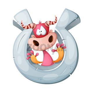 Funny, cute, crazy cartoon character cow.