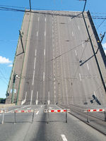 Raised bridge. Navy Day. In St. Petersburg, bridges are being built.