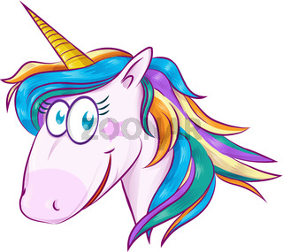A cute cartoon mascot unicorn isolated on white background