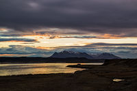 Mountains and ocean at sunrise in Vatnsnes peninsula, Iceland