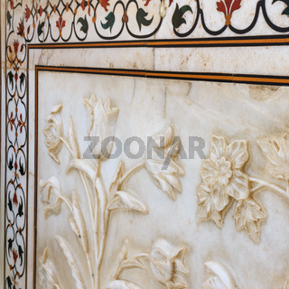 Details of Taj Mahal: Close-up of Painting, Motifs, and Fresco on the wall. UNESCO World Heritage in Agra, India.