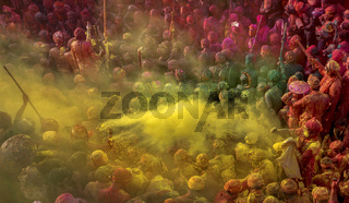 MATHURA, UTTAR PRADESH, INDIA, March 2017, Men from Nandgaon sit in a Samaaj or community gathering during the festival of Holi