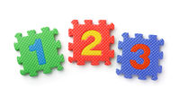 Top view of math numbers foam puzzle