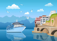Landscape with Great cruise liner near coast with buildings and houses, tourism