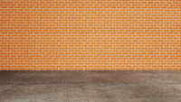 Orange brick wall and cement floor . 3d render illustration .
