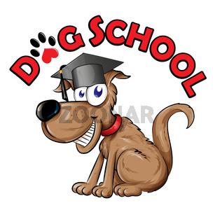 dog school cartoon isolated on white background