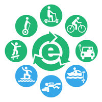 electric drives icon set round