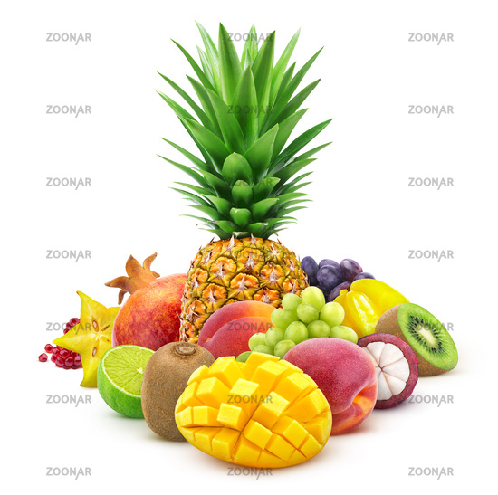 Tropical fruits whole and cut isolated on white background
