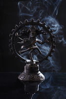 Hindu God Nataraj / Shiva Dance Idol Statue with Smoke