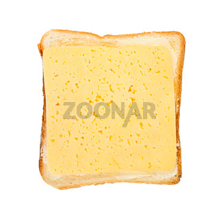 open sandwich with toast, butter and cheese