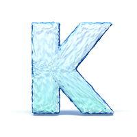 Ice crystal font letter K 3D