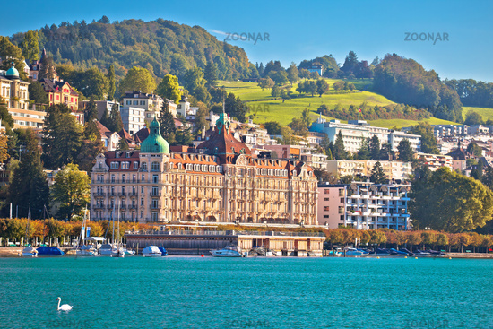 Lucerne lake waterfront and famous landmarks view