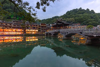 Ancient town Fenghuang at sunset in Hunan China