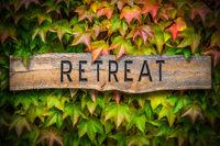 Rustic Wooden Spiritual Retreat Sign