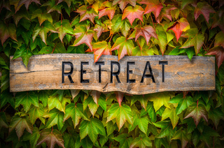 Rustic Wooden Spiritual Retreat Sign