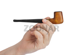Hand with smoking pipe