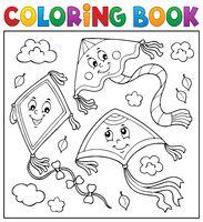 Coloring book happy autumn kites topic 2
