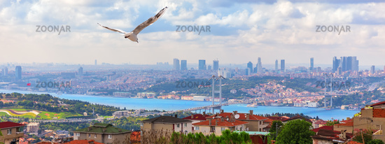 The Bosphorus Bridge, view from the Asian side of Istanbul