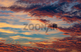 Afterglow sky background with clouds
