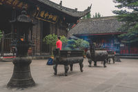 Person praying in Wenshu Monastery
