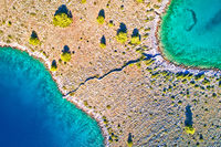 Kornati national park island separated by stone drywall aerial view