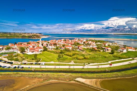 Historic town of Nin laguna and sandbars aerial view