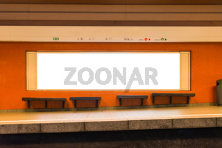 White Isolated Subway Ad Space Advertisement Billboard Lightbox Interior Orange Empty Station