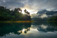 Sunrise on Cheow Lan Lake, Khao Sok National Park, Thailand