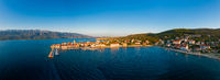 Old coastal town in Croatia, aerial view of Vinjerac