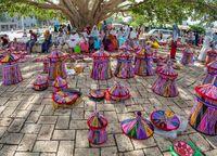 Street market in center of Aksum, Ethiopia Africa