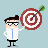 Businessman pointing to target