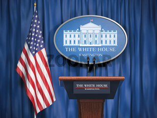Politics of White House and President of USA United states concept.  Podium speaker tribune with USA flags and sign of White House