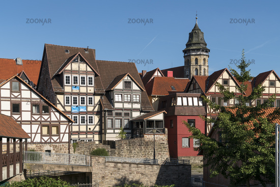 City view with half-timbered houses and the Fulda in Hann. Münden