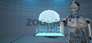 Humanoid Robot Doctor Tablet Brain