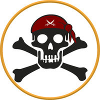 Pirate circular emblem with text, skull and bones.
