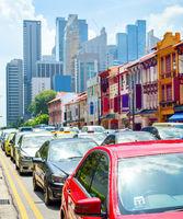 Car traffic street Singapore cityscape