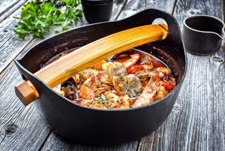 Traditional Catalan sarsuela seafood stew with prawns