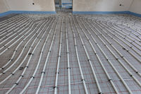 installation of underfloor heating in new built house