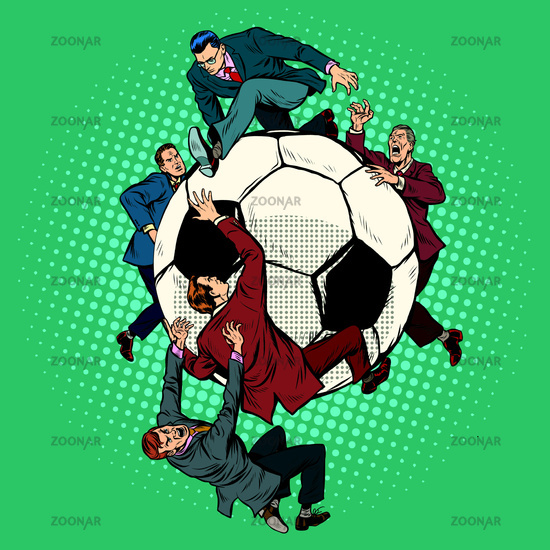 Competition of politicians for football. soccer ball