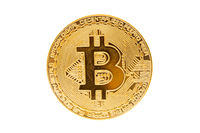 Golden bitcoin  isolate on white background