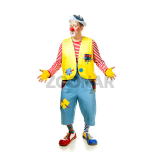 A funny clown with smiling joyful expression