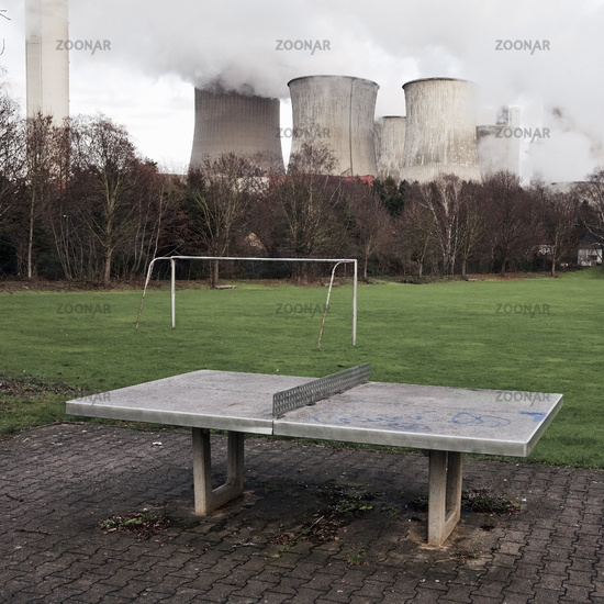 desolate sports ground in front of brown coal power station Niederaussem, Bergheim, Germany, Europe