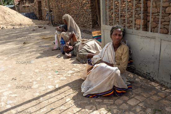 Beggar woman on the street, Aksum, Ethiopia Africa